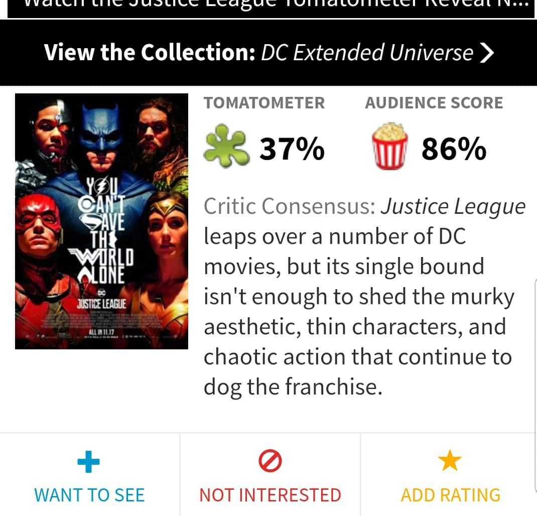 Justice league and the rotten tomatoes debate rotten by the site with each film having a big gap between critical rating and audience rating justice league so far has the most spark contrast ccuart Choice Image