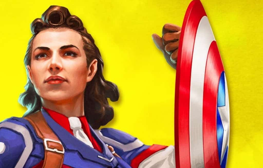Peggy Carter illustrated as Captain America