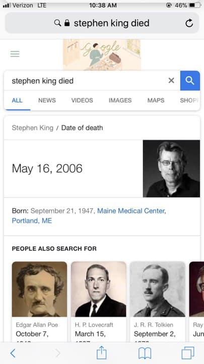 Stephen King Google Death