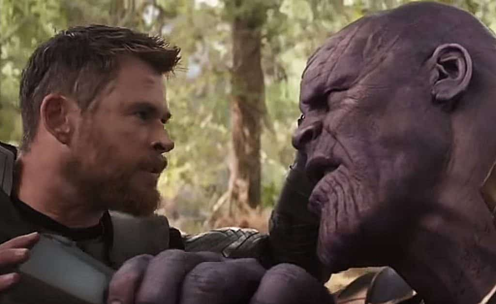 Image result for infinity war thanos and thor