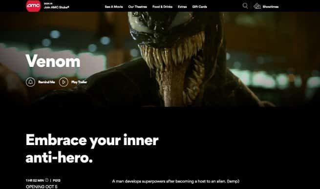 Venom Movie Rating AMC Theatres