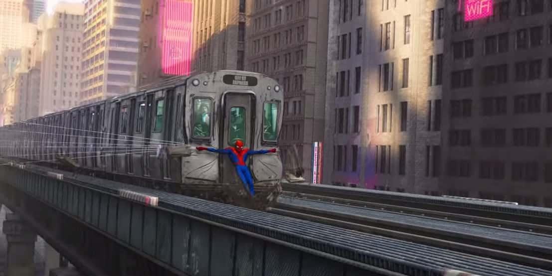 Spider-Man: Into The Spider-Verse Train Scene