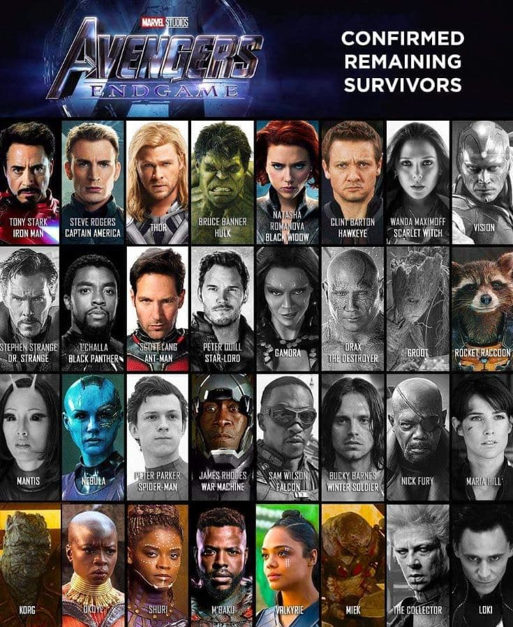 Avengers: Endgame Remaining Survivors