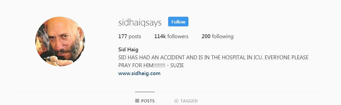 Sid Haig Instagram Screenshot