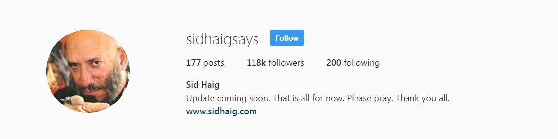 Sid Haig Update
